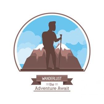 Fernweh das abenteuer erwartet mit bergsteiger mann an der spitze des berges