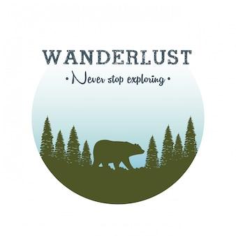 Fernweh-label mit landschafts- und bären-grizzly-szene