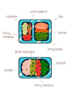 Fertiggerichte in behältern eine tägliche ernährung von gesunden lebensmitteln vektorgrafiken in einem flachen stil