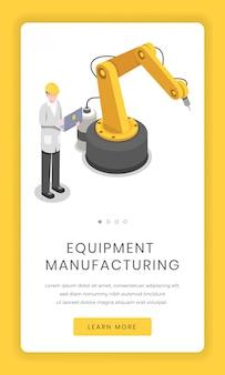 Fertigungsindustrie, montage mobilen app-bildschirm. software für forschungseinrichtungen, kybernetik und robotik