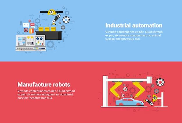 Fertigungsroboter-industrielle automatisierungs-produktions-netz-fahnen-flache vektor-illustration