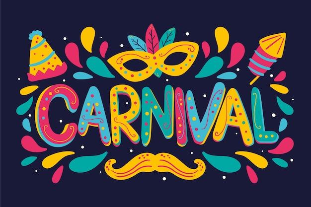 Fest gezeichnete karnevalsbeschriftung mit schnurrbart- und brillenzubehör