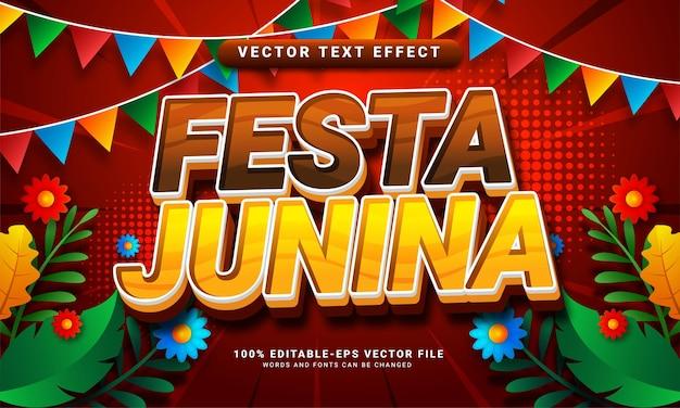 Festa junina 3d bearbeitbarer texteffekt, geeignet für festa junina festivals
