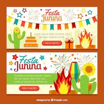 Festa junina banner mit lagerfeuer