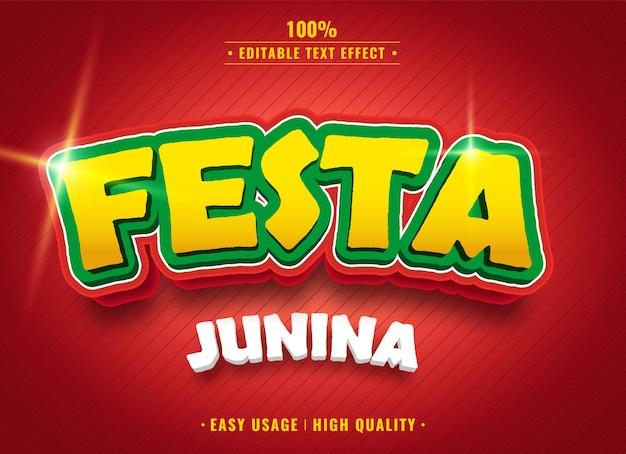 Festa junina bearbeitbarer 3d-texteffekt Premium Vektoren