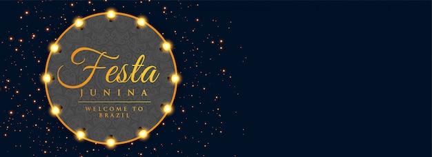 Festa junina beleuchtet dunkle fahne der dekoration