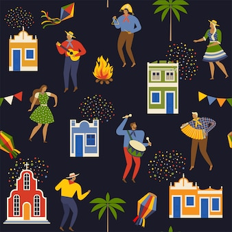 Festa junina brasilien juni festival. nahtloses muster.