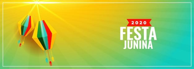 Festa junina breites banner mit lampendekoration
