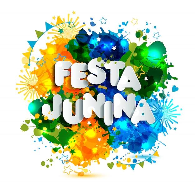 Festa junina dorffest in lateinamerika. icons in leuchtenden farben. flache dekoration.