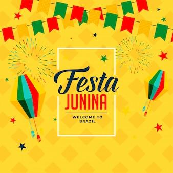 Festa junina ereignisfeier poster hintergrund