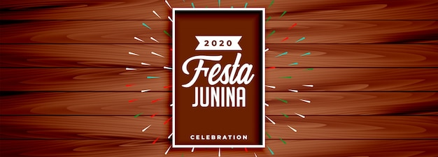 Festa junina feier banner design im holzstil