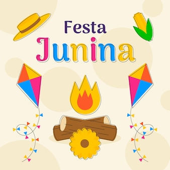 Festa junina feier tag design