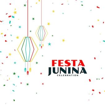 Festa junina feierhintergrund mit fallendem konfetti