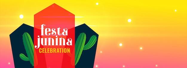 Festa junina feiertag mit kaktuspflanze und copyspace