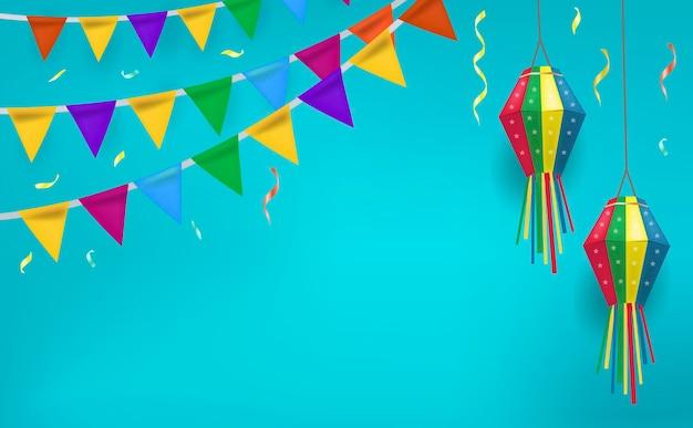 Festa junina feiertagsentwurf mit flaggenflaggen und papierlaterne.