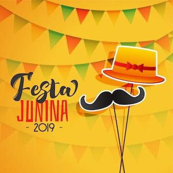 Festa junina feiertagshintergrund mit hut und dem schnurrbart