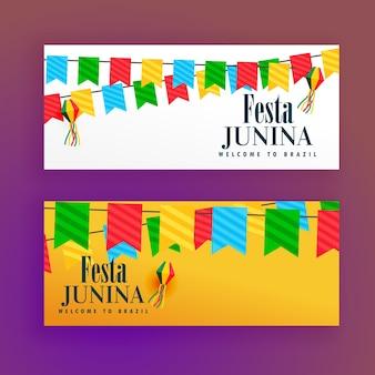 Festa junina festival banners von zwei