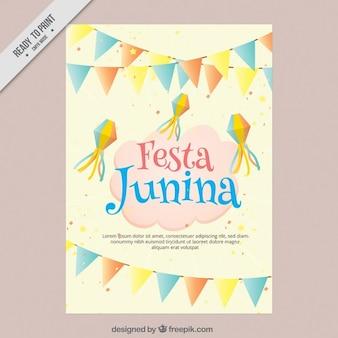 Festa junina flyer in sanften tönen