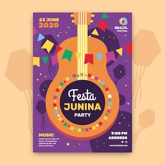 Festa junina flyer vorlage konzept