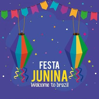 Festa junina grußkarte mit hängenden laternen und girlanden