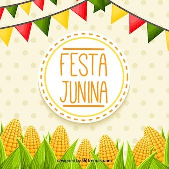 Festa junina hintergrund mit cobs