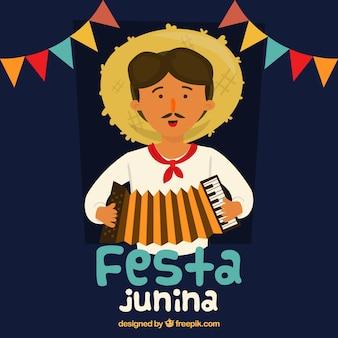 Festa-junina hintergrund mit dem mann, der ein akkordeon spielt