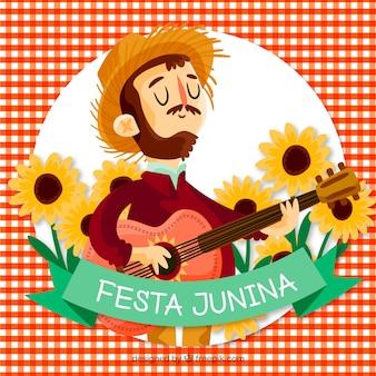 Festa-junina hintergrund mit dem mann, der gitarre spielt