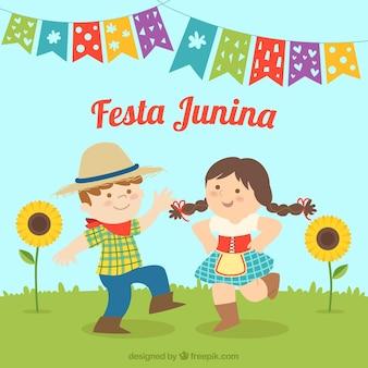 Festa junina hintergrund mit feiernden menschen
