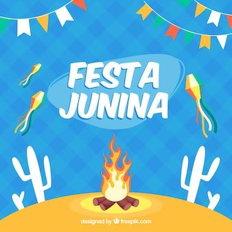 Festa junina hintergrund mit feuer