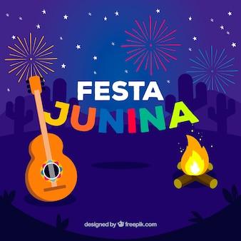 Festa junina hintergrund mit feuerwerk und gitarre