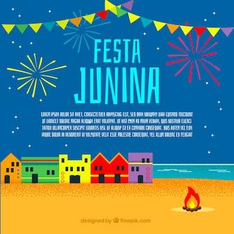 Festa junina hintergrund mit feuerwerk und stadt