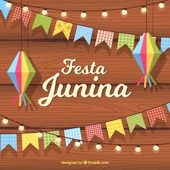 Festa junina hintergrund mit flachen wimpeln und lampen