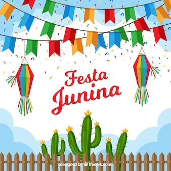 Festa junina hintergrund mit flachen wimpeln