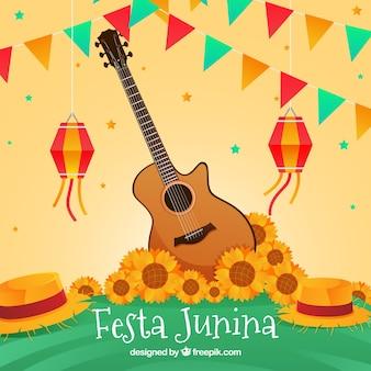 Festa junina hintergrund mit gitarre und sonnenblumen