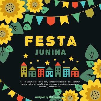 Festa junina hintergrund mit häusern und sonnenblumen