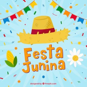 Festa junina hintergrund mit hut