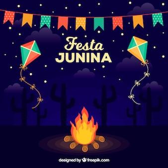 Festa junina hintergrund mit lagerfeuer in der nacht