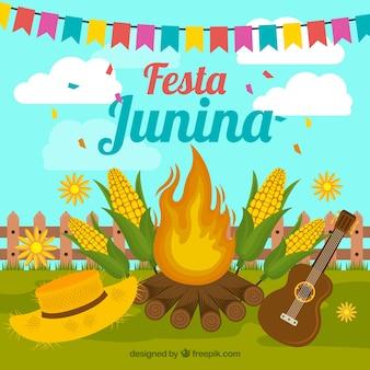 Festa junina hintergrund mit lagerfeuer und elementen