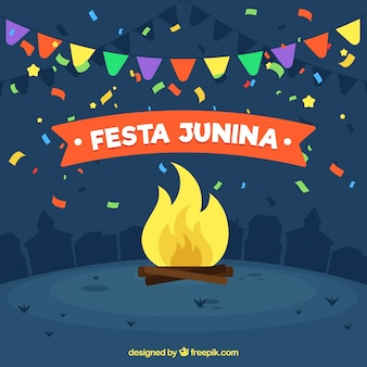 Festa junina hintergrund mit lagerfeuer und konfetti