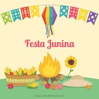 Festa junina hintergrund mit lagerfeuer