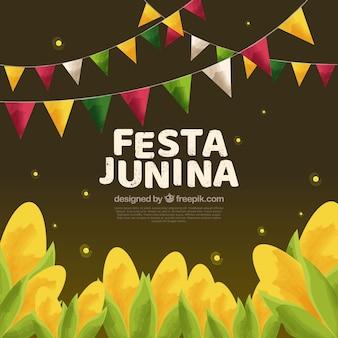 Festa junina hintergrund mit mais ernte