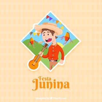 Festa junina hintergrund mit mann und gitarre
