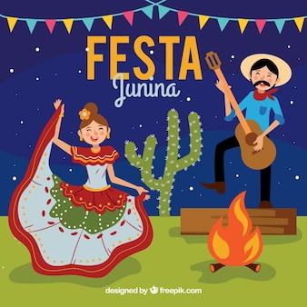 Festa junina hintergrund mit paaren