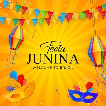 Festa junina hintergrund mit party flags laterne