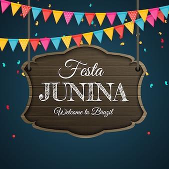 Festa junina hintergrund mit partyflaggen. brasilien juni festival hintergrund für grußkarte, einladung im urlaub.