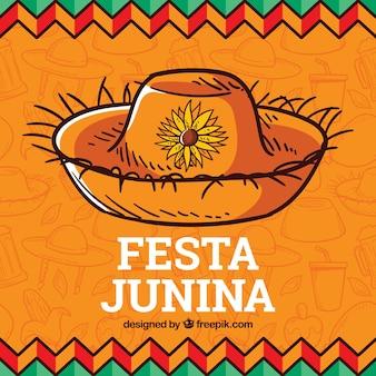 Festa junina hintergrund mit traditionellen elementen