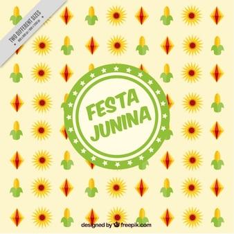Festa junina hintergrund mit typischen elementen