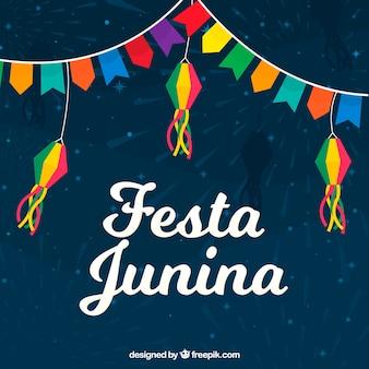 Festa junina hintergrund mit wimpeln in verschiedenen farben