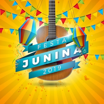 Festa junina illustration mit akustikgitarre