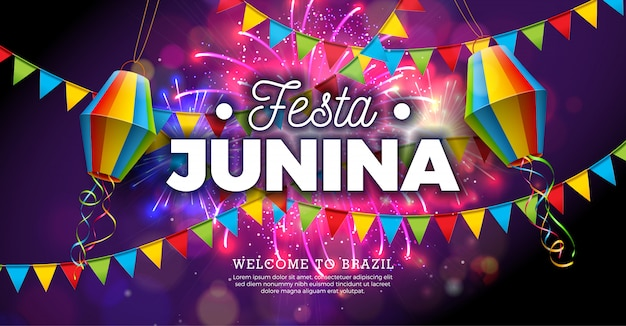 Festa junina illustration mit flaggen und papierlaterne